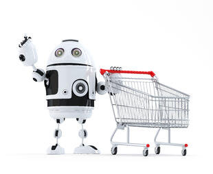 robot-with-shopping-cart-pointing-at-invisible-object_fJmznhCu